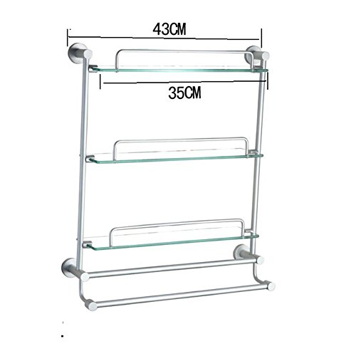 New Space Aluminum Bathroom Racks Bathroom Glass Shelf