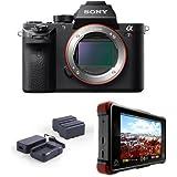 Sony a7R II Alpha Full Frame Mirrorless Digital Camera Body - Bundle With Atomos Ninja Flame 7 Monitor Recorder, Atomos Power Kit