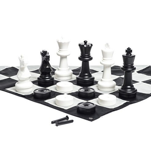 MegaChess Giant Chess Set - 25 inch King; Bundle with Giant Checkers Set and Giant Chess Mat (3 items) by MegaChess