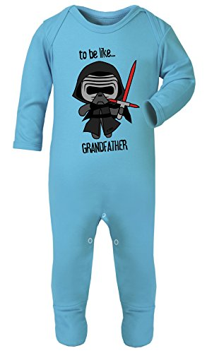 Darth Vader to Be Like Grandfather Star Wars Print Footed Pajamas 100% Cotton (Turquoise, 6-12 -