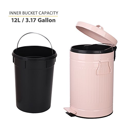 Kitchen Trash Can with Lid, Pink Bathroom Garbage Can, Round Waste Bin Soft Close, Retro Vintage Metal Garbage Bin For Office Foot Pedal Step, 12 Liter/3 Gallon, Glossy Pink by mingol (Image #3)