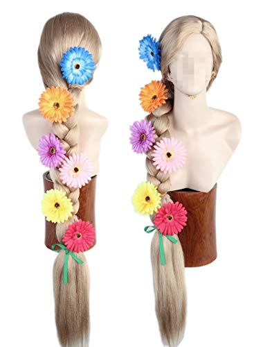 Womens Wig Blonde Straight Long Cosplay Hallewoon Costume Wigs 40inch with Flowers -