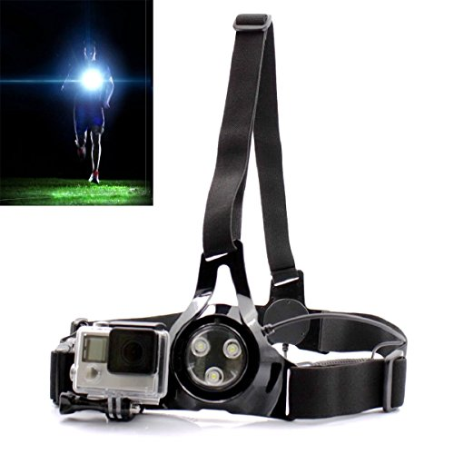 Price comparison product image PANNOVO Running Light , Outdoor Sports Phtotography Light and Gopro Shoulder Chest Belt Elasticity Strap for Gopro Hero 3 3+ 4 5 session