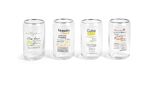 Juego de 4 vasos de cóctel o bebida de cristal con forma de ...