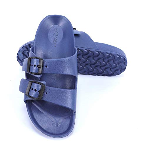 Arch Navy Youth - Seranoma Women's Classic Comfort Slide | Lightweight and Waterproof Shoe | EVA Slip On | Double Buckle | Contoured Footbed | Arch Support | Deep Heel Cup | Navy