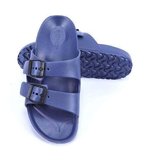Seranoma Women's Classic Comfort Slide | Lightweight and Waterproof Shoe | EVA Slip On | Double Buckle | Contoured Footbed | Arch Support | Deep Heel Cup | Navy