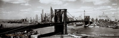 Brooklyn Bridge, New York City, 1938 Art Poster Print