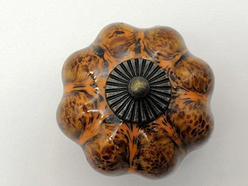 Yazan-Molandi Ceramic Glazed Pumpkin Knobs Classy Vintage Cabinet Door Pull Handle 5pcs (red)