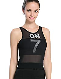 Mesh Workout Fitness Sports Compression Tank Top with Built-in Shelf Bra for Womens