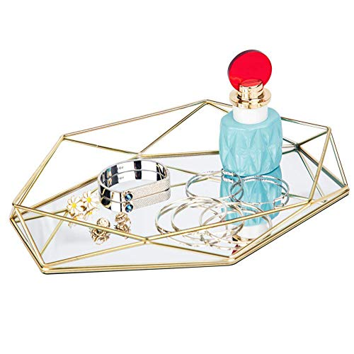 FLY SPRAY Ornate Tray Makeup Jewelry Organizer Metal Brass Mirrored Glass Tray Luxury Gold Hexagonal Desktop Simple Style Cosmetic Jewelry Box Vanity Home Décor, Perfume Plate Wedding Gifts