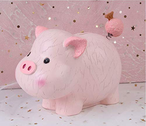 (SHIYING Ceramic Pink Piggy Bank for Kids Boys and Girls Unique Gift Nursery Décor Keepsake Porcelain Piggy Bank (Pink))
