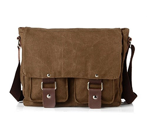 Lalagen Cotton Canvas Retro Field Small Messenger Bag Coffee by Lalagen (Image #6)