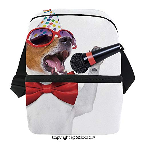 SCOCICI Thermal Insulation Bag Jack Russel Dog with Sunglasses Party Hat and Bowtie Singing Birthday Song Decorative Lunch Bag Organizer for Women Men Girls Work School Office Outdoor]()
