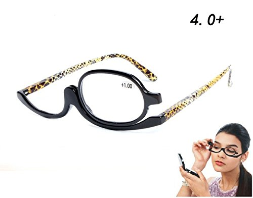 High Quality Readers Magnifying Makeup Glasses Eye Make Up Spectacles Flip Down Lens Folding Cosmetic Womens Reading Glasses (+4.0)