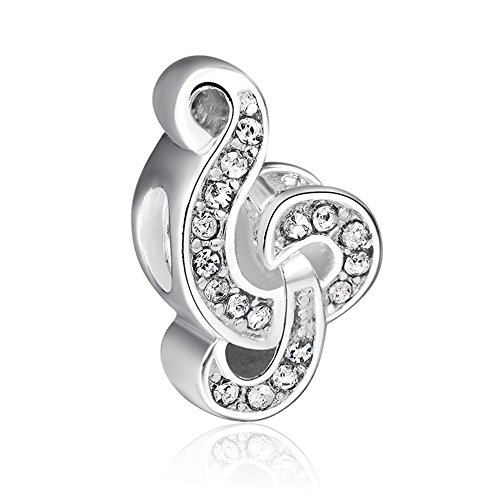 EvesErose Silver Crystal Music Note Bead Sterling Charm Fits Pandora & Similar Bracelets