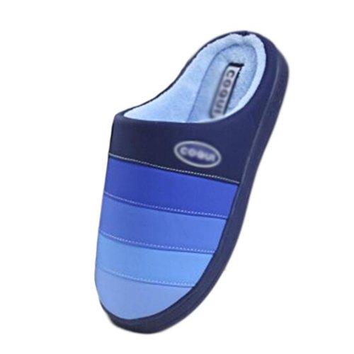 Suelo Zapatillas Calientes Interior Familia Suela Pu De Antideslizante Black Gruesa Algodón azul Mules Temptation Invierno Profundo TqO4gXx