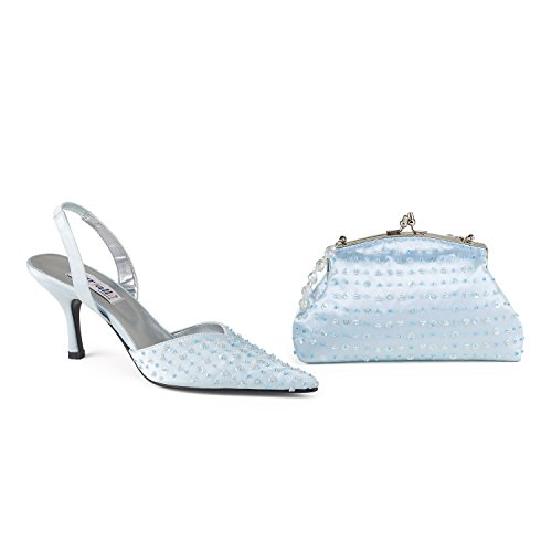 FARFALLA Luxury Matching Shoes and Bag Light Blue