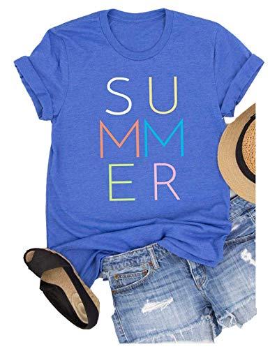 Enmeng Womens Summer Vibes T Shirt Casual Short Sleeve Beach Vacation Graphic Tees (XL, Blue)