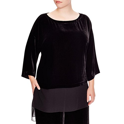 Eileen Fisher Black Velvet Bateau Neck Top M 1X (1X)