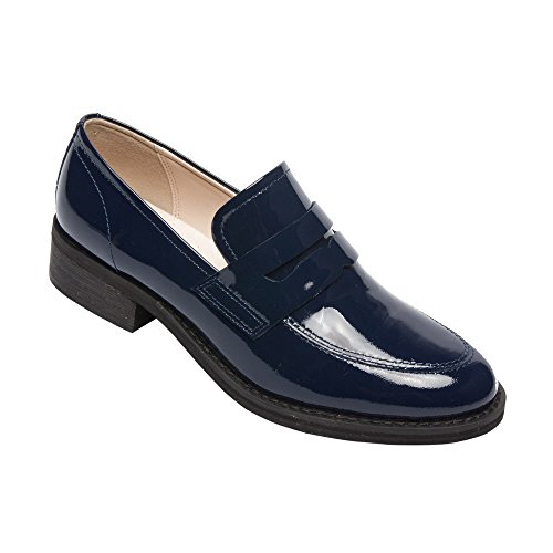 Patent Penny Loafer (PIC/PAY Eric - Women's Patent Penny Loafers - Stacked Leather Block Heel Casual Slip-On Flat Navy Patent 8.5M)