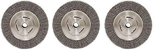 Weiler Trulock Narrow Face Wire Wheel Brush, Round Hole, Steel, Crimped Wire, 8'' Diameter, 0.014'' Wire Diameter, 3/4'' Arbor, 2-1/16'' Bristle Length, 3/4'' Brush Face Width, 6000 RPM (5)