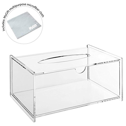 Modern Clear Acrylic Bathroom Facial Tissue Dispenser Box Cover /  Decorative Napkin Holder   MyGift Home