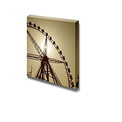 Canvas Prints Wall Art - Silhouette of a Ferris Wheel at Sunset - 24