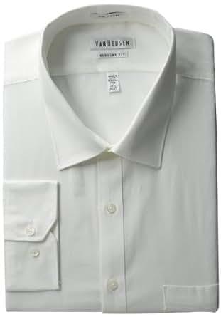 "Van Heusen Men's Pincord Regular Fit Solid Spread Collar Dress Shirt, White, 15"" Neck 32""-33"" Sleeve"