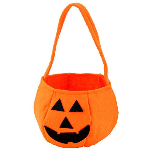 Trick Or Treat Pumpkins (Halloween Pumpkin Trick or Treat Bags, Candy Bag for Boys or Girls Costume Party (For All Ages, Orange, Soft Felt Bucket))