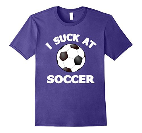 Soccer Ball Costume (Mens I Suck at Soccer T-Shirts: Funny Soccer Player Costume Shirt Small Purple)