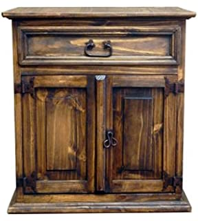 Rustic Wax Mansion Nightstand - Real Wood - Bedside Table