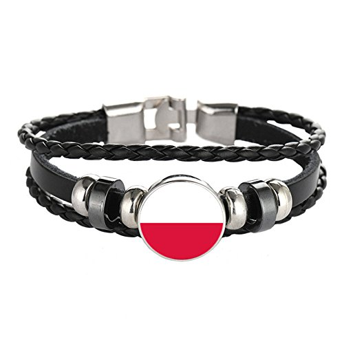YouMiYa 2018 World Cup Adjustable Faux Leather Cuff Bracelet National Flag Punk Jewelry ()