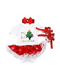 First Christmas Outfit Baby Girl Dress Up Costume Romper Dress Headband Shoes
