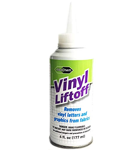 AlbaChem Vinyl Liftoff 6 fl oz (177 ml) - Removes Vinyl Letters and Graphics from Fabrics - Made in USA