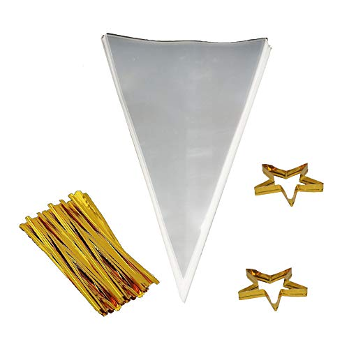 """Clear Cone Bags 100PCS Cellophane Triangle Clear Treat Bags with Gold Twist Ties for Favor Christmas Candy Popcorn Handmade Cookies Sweets Crafts 11.8"""" by ()"""