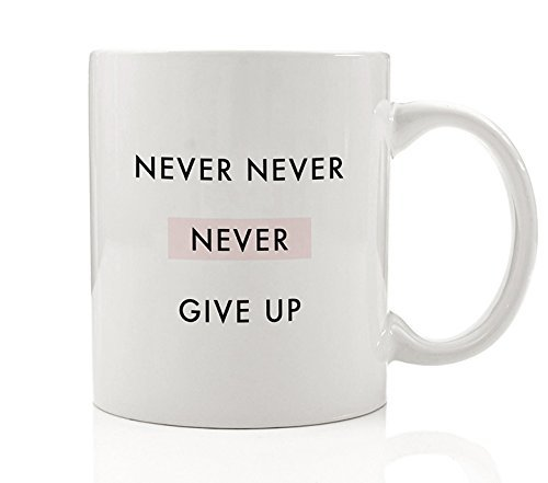 Never Never Never Give Up Inspirational Coffee Mug Gift Idea Winston Churchill Quote Persist Believe in Yourself Motivational Birthday Christmas - 11oz Ceramic Tea Cup by Digibuddha DM0093