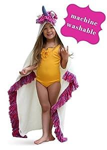 Born To Unicorn Blanket For Girls- Hooded, Kids Pink, Purple Wearable Crochet Knit w/Hood Throw Blankets Wrap, Toddlers Cute Plush Knitted Hoodie, Soft Kids Blanket Gift, Cozy Magic Cloak w/Hood