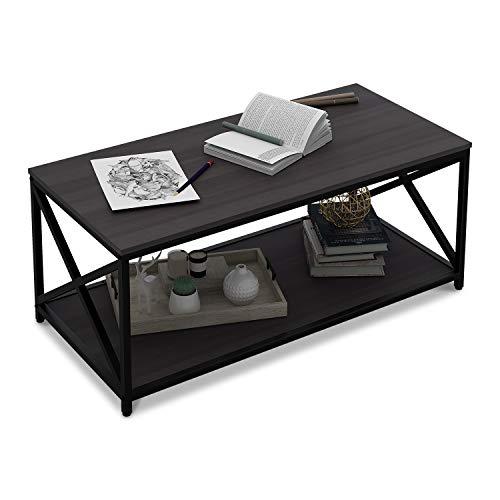 (WLIVE X-Frame Coffee Table with Shelf, Sofa Table for Living Room, Metal Frame)