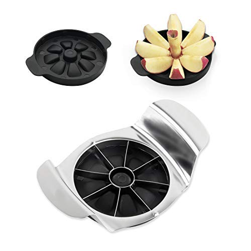 New Apple Slicer Corer, Cutter, Wedges with Stainless Steel 8 Blades and Ergonomic, Cushioned Handles, Attached Safety Cover