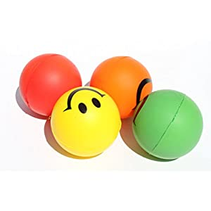 4 Happy Smiley Face Squeeze Ball (Red Yellow Green Orange) Stress Relief Finger Therapy After Hand Exercise Grip Ball