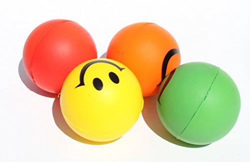 4 Happy Smiley Face Squeeze Ball - Stress Relief Finger Ther