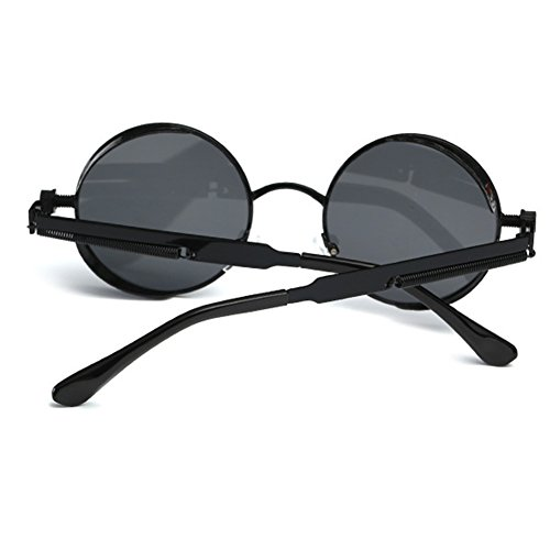 Hombres Steampunk Retro Ronda Gafas Metal Mxssi Mujer de de Gafas Recubrimiento C7 Lentes sol sol Shades Gafas Vintage Ix1qv