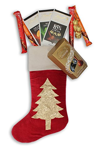 Lindt finest chocolates in a Large Luxurious Hand Embroidered Velvet Christmas stocking - 3x 100g Lindt Excellence bars, 1x 200g Lindor Assorted, 4x 38g Lindor bars, 2x Lindt Teddy