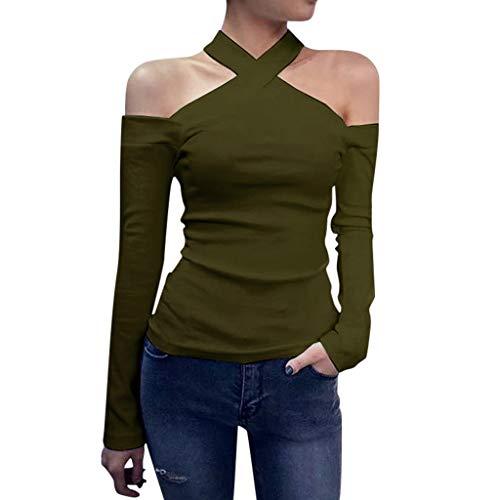 Sunyastor Womens Long Sleeve Shirts Sexy Fashion Halter Slash Neck Slim T-shirt Blouse Casual Pullover Sweatshirt