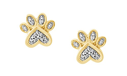 Natural Diamond Paw Print Stud Earrings in 14k Yellow Gold Over Sterling Silver ()
