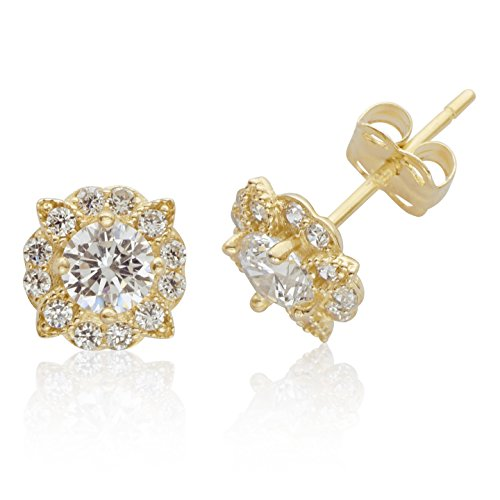 Clustered Flower CZ Stud Earings With Adorned Leaves in 14K yellow Gold for Women and Girls Clustered Jewels