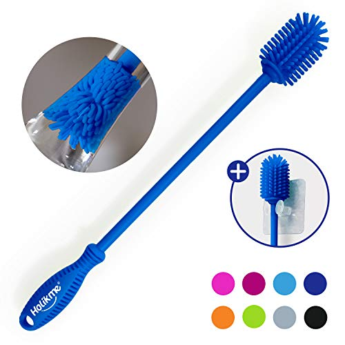Holikme Silicone Bottle Brush Bottle Cleaner for your Bottles Vase and Glassware Best Water Bottle Cleaning Brush for Washing Containers Blue