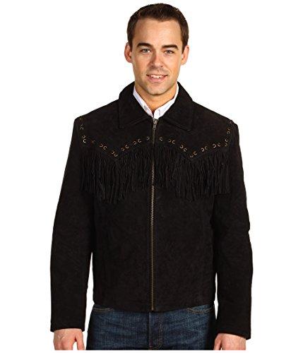 Scully Men's Boar Suede Fringe Jacket Black Large