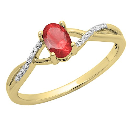 Dazzlingrock Collection 10K 6X4 MM Ruby & White Diamond Bridal Swirl Engagement Promise Ring, Yellow Gold, Size 5.5 ()