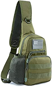 Jueachy Tactical Sling Bag Military Shoulder Molle Chest Pack Shoulder Sling Backpack NO USA Flag Patch